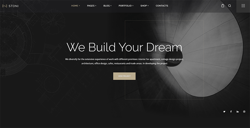 Stoni theme wordpress creer site web entreprise architecte 1