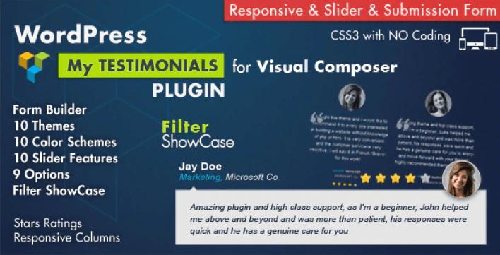 Testimonials showcase for visual composer plugin wordpress