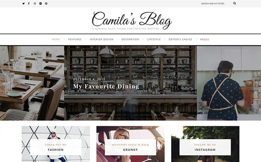 Camila's Blog - Thème WordPress minimaliste parfait pour blog