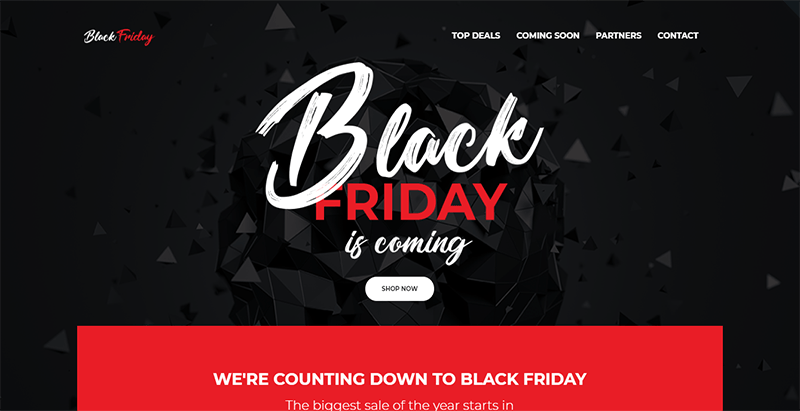 Black friday theme wordpress créer site web evenement