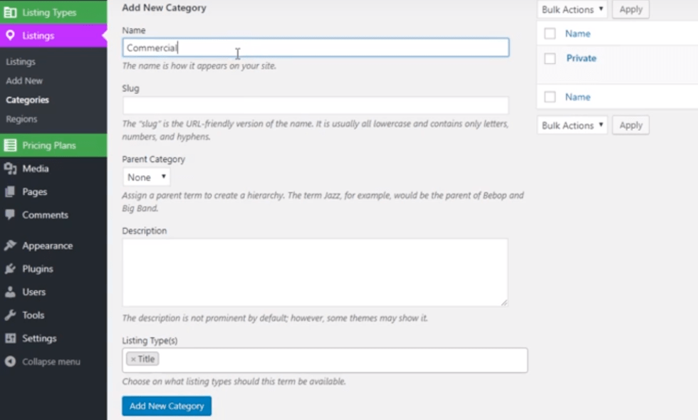 Categories ulisting plugin wordpress