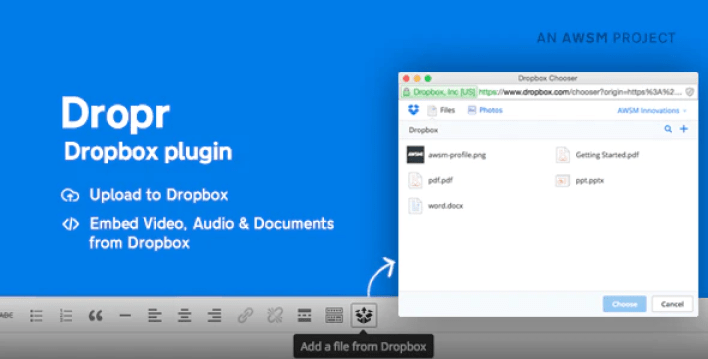 Dropr dropbox plugin for wordpress plugin