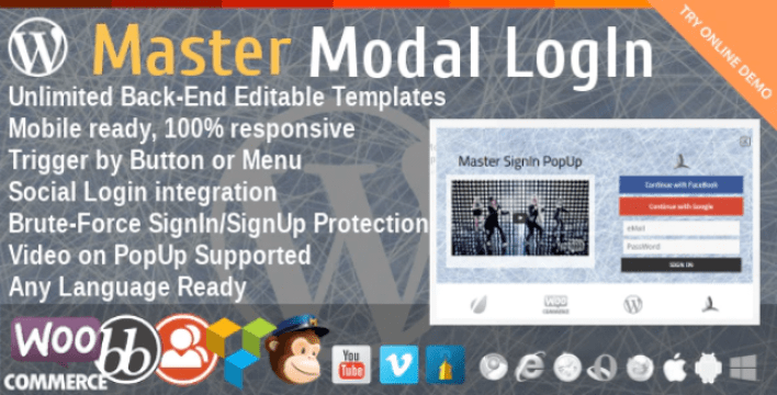 Master modal login popup plugin wordpress