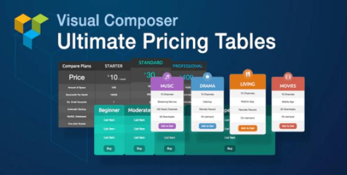 Créer des grilles de prix - Visual composer ultimate pricing tables add on plugin wordpress
