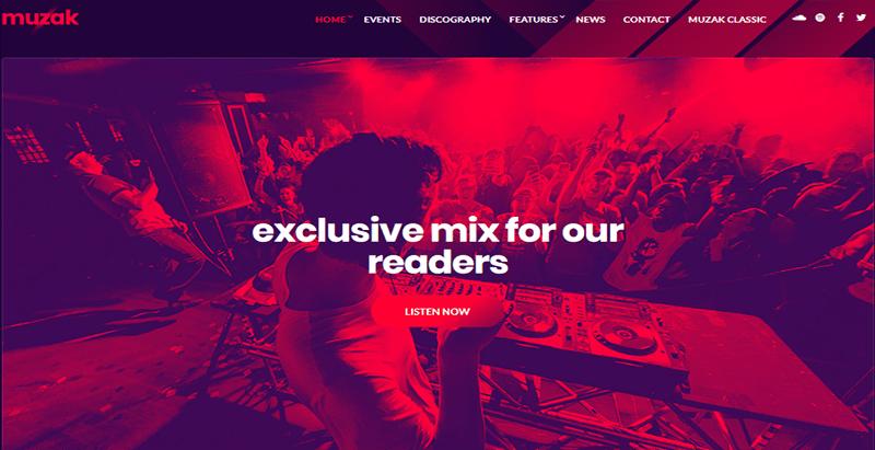 Muzak theme worpress creer site web artise musicien