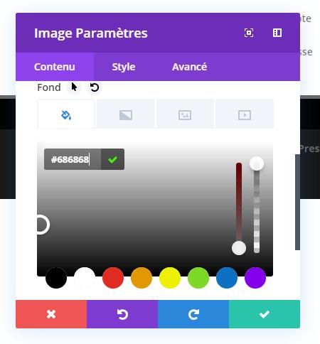 Reglages arriere plan image module divi