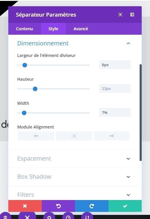 Reglages dimensionnement module separateur