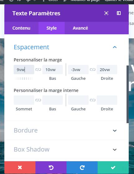 Reglages espacement module texte divi