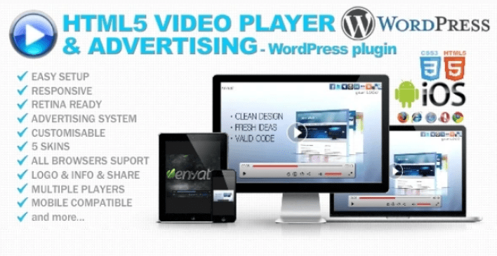 Html5 video player advertising wp plugin wordpress