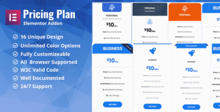 Pricing plan pricing table elementor addon plugin wordpress