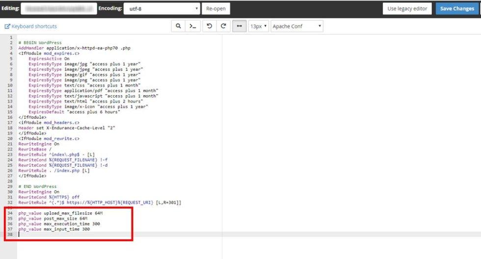 Modifier un fichier htaccess