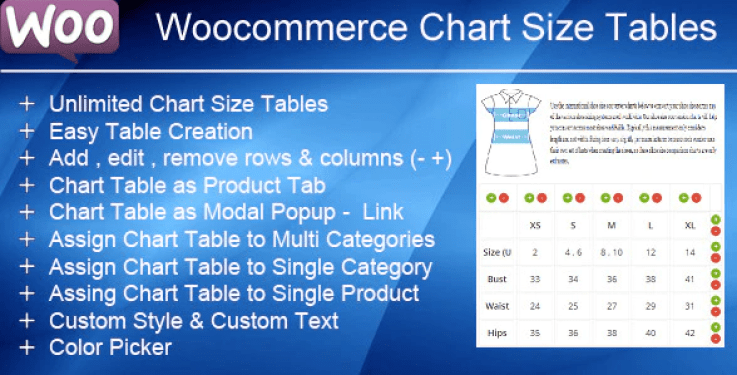 Woocommerce product chart sizes table plugin wordpress
