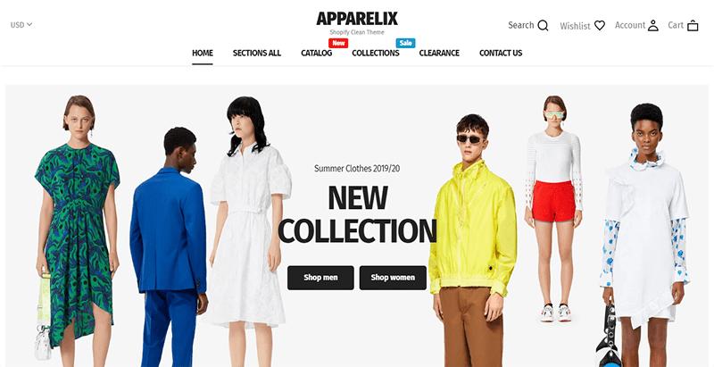 Apparelix theme shopify e commerce