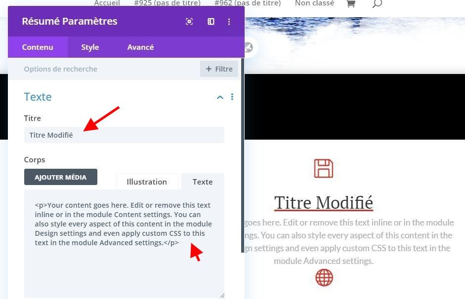 Modifier les informations module texte
