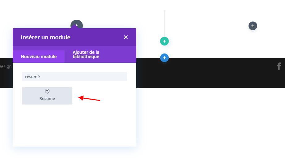 Ajouter module résumé divi