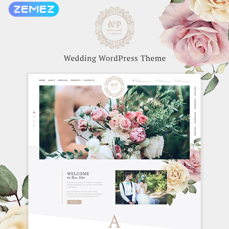 Красивый Цветочный Элемент WordPress Theme