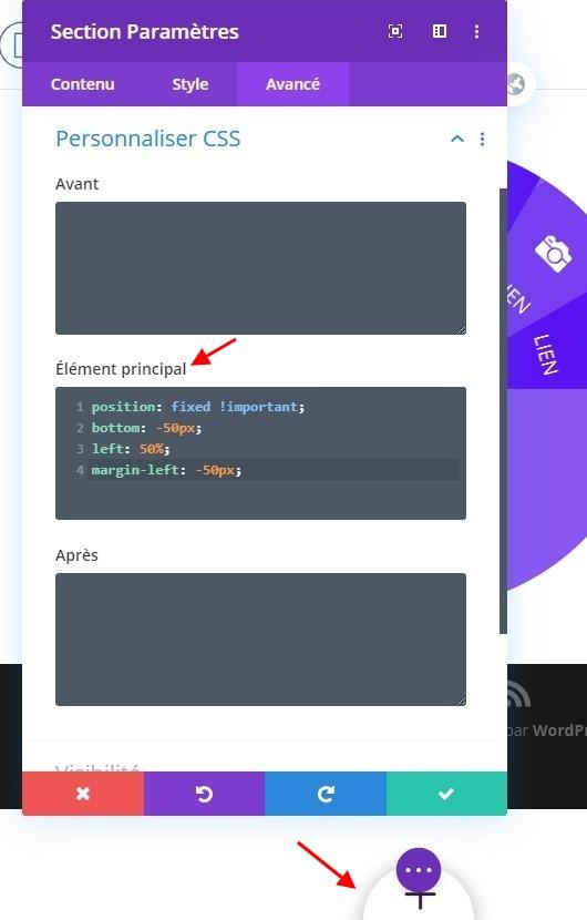 Configuration style section divi