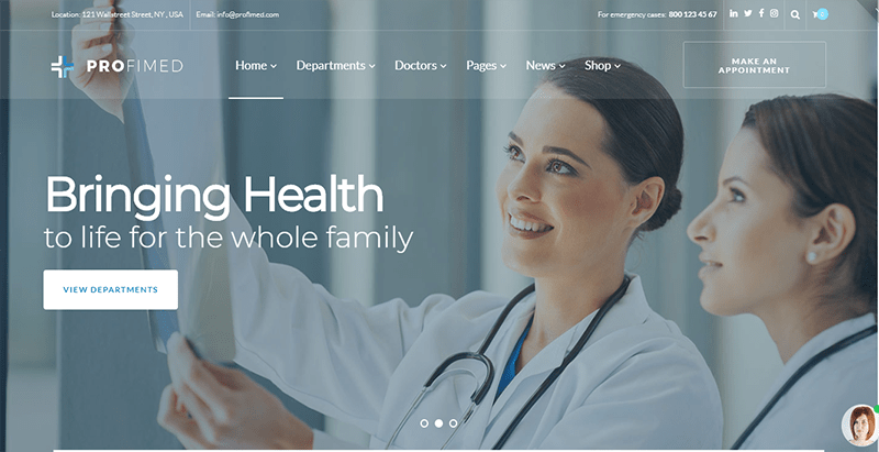 Profimed Theme Wordpress Hopital Medecin