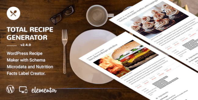 Total recipe generator wordpress recipe maker with schema and nutrition facts elementor addon plugin wordpress