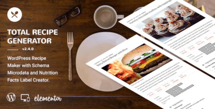 Total recipe generator wordpress recipe maker with schema and nutrition facts elementor addon plugin wordpress