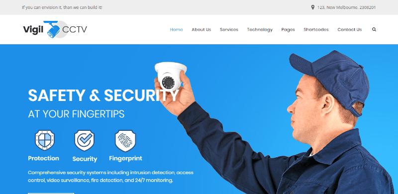 Vigil themes wordpress creer site web entreprise securite gardiennage garde corps surveillance