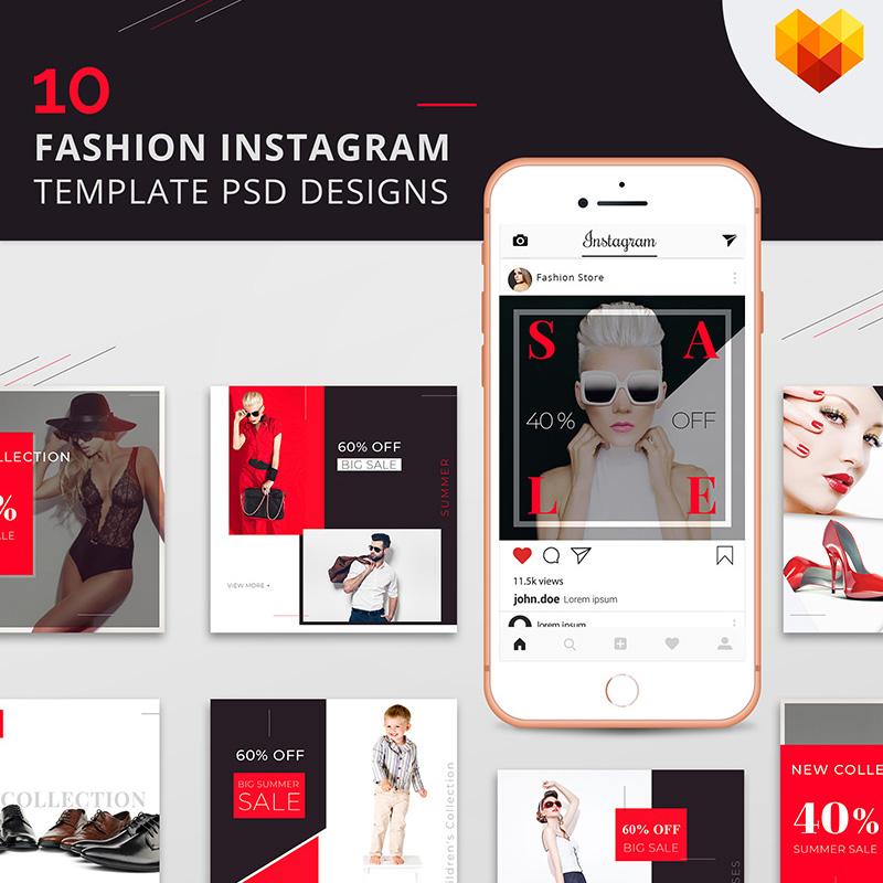 10 Conceptions PSD pour pages de mode sur Instagram