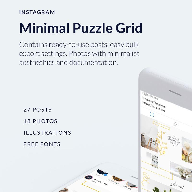 Minimales Instagram-Puzzle-Gitter