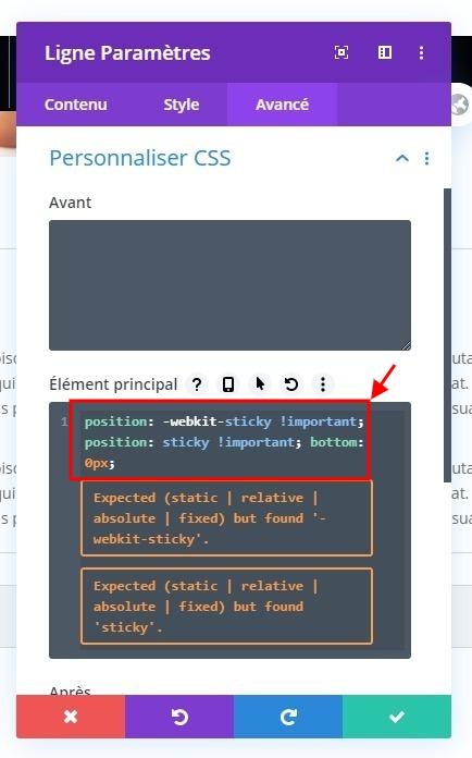 Personnaliser style css module divi