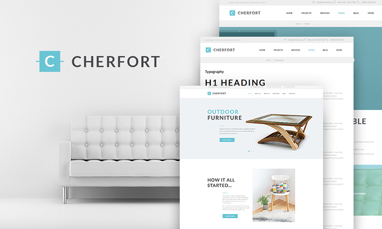 Cherfort - Furniture Company Responsive thème WordPress adaptatif