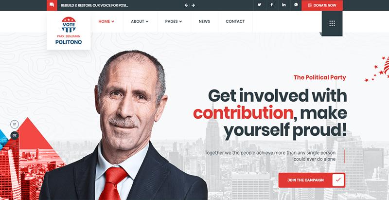 Politono Thème Wordpress Créer Site Web Campagne Politique