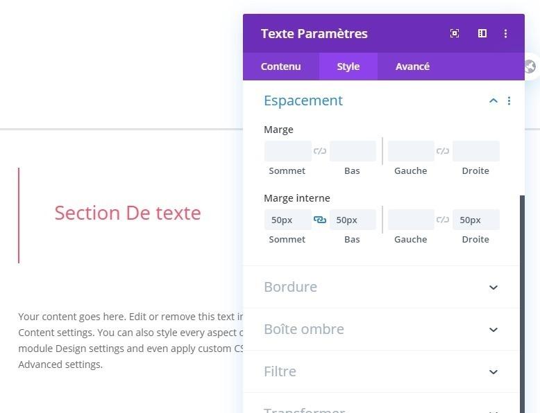 Configurer le rembourage module texte divi