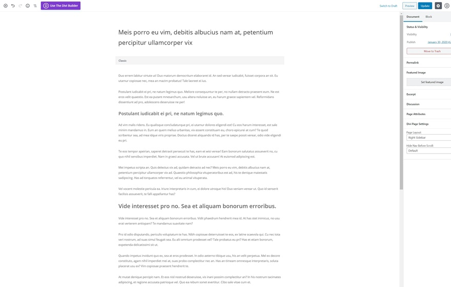 Créer une publication divi