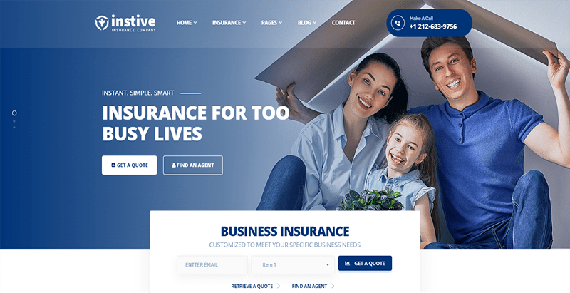 Instive themes wordpress creer site web entreprise assurance finance comptable audit