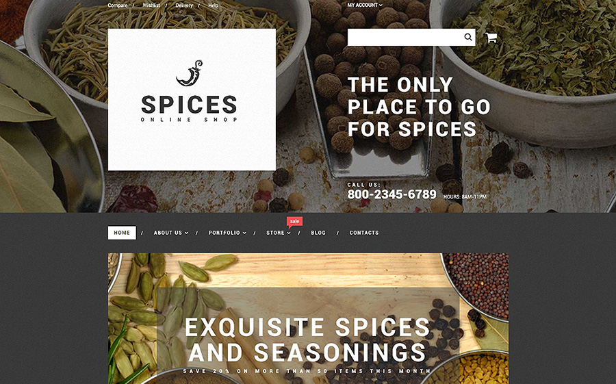 loja de especiarias tema WooCommerce adaptável