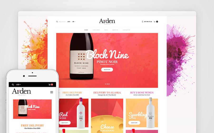 Arden - Loja de vinho e comida on-line com tema WooCommerce adaptável