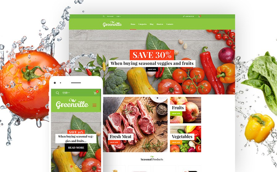 Greenville - адаптивная тема ресторана органических продуктов WooCommerce