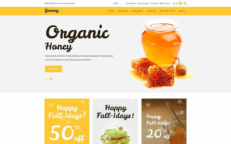 Вкуснятина - Honey Store Адаптивная тема WooCommerce