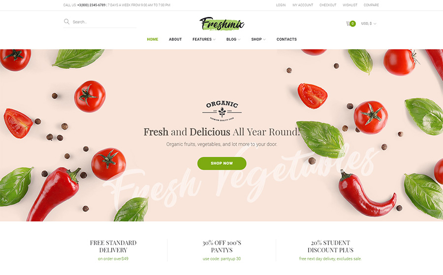 Freshmix - Tema de WooCommerce adaptável da loja on-line de alimentos orgânicos