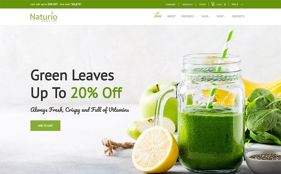 Naturio - Modelo de loja de comida adaptada ao tema WooCommerce