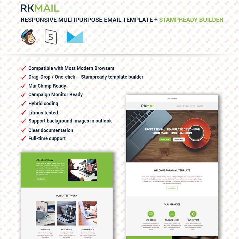 RKMail - Modèle d'e-mail polyvalent + modèle de Newsletter avec Stampready Builder