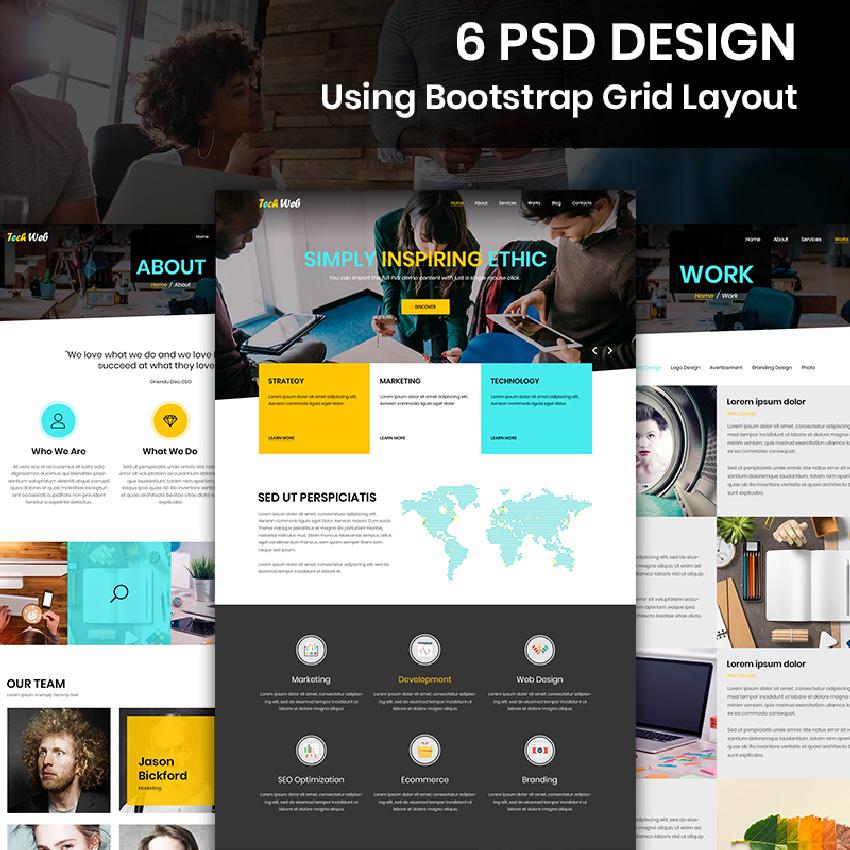 Tech Web - Web Design Company modèle PSD Bootstrap