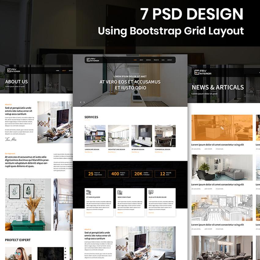 Fav Interior - Interior Design Company modèle PSD Bootstrap