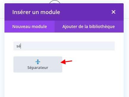 Ajouter module separateur divi