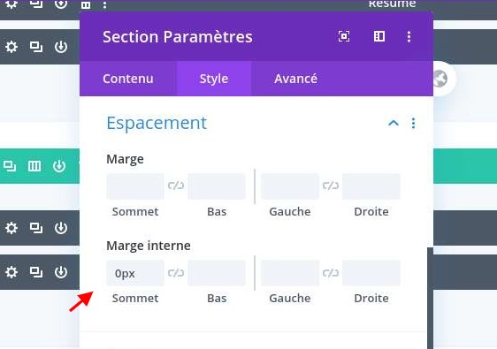 Configuration espacement section divi