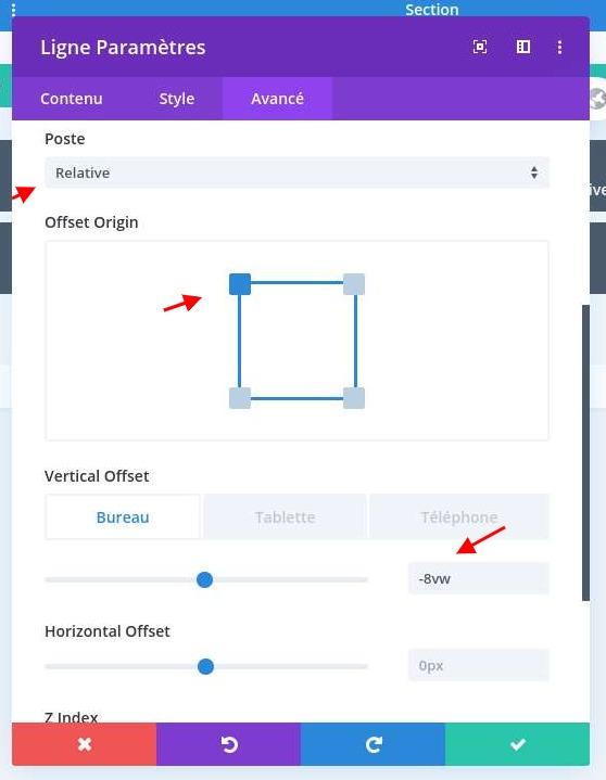 Configurer position ligne divi