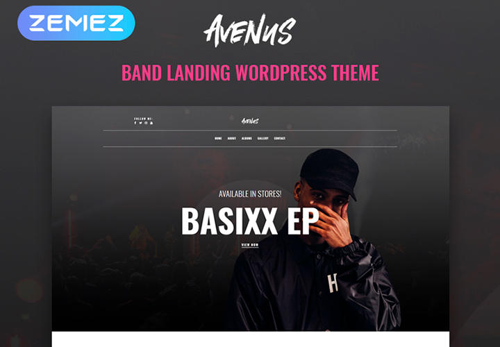 Avenus - Thème WordPress Elementor moderne d'une page pour site de musique