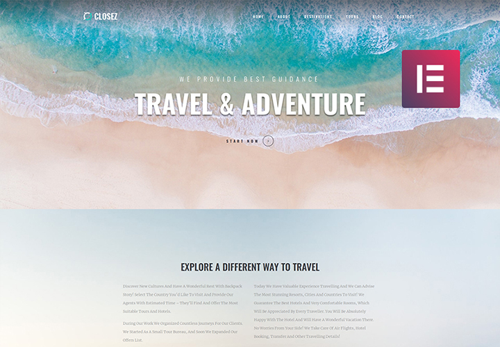 Closez - Thème WordPress Elementor One-Page moderne pour le tourisme