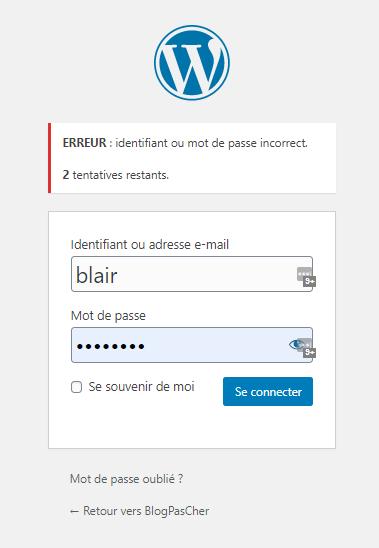 limiter tentatives connexion wordpress 1