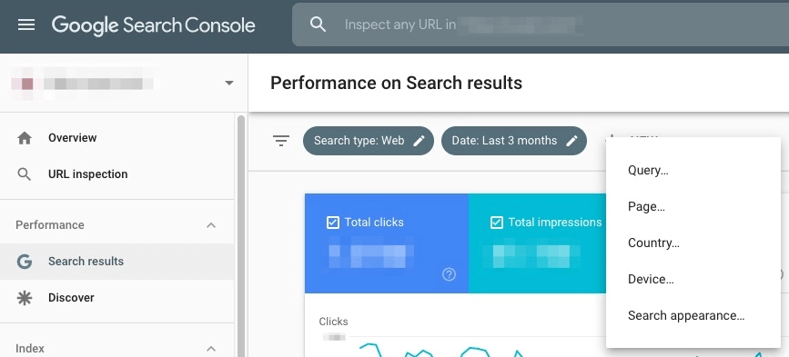 Performance onglet requête google search console