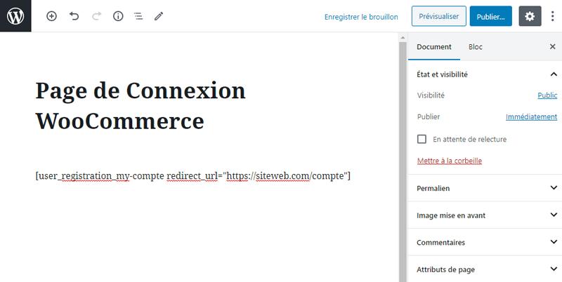Remplacer formulaires defaut connexion inscription woocommerce 1